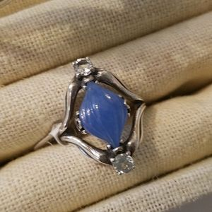 Carolyn Pollack Blue Jade Sterling Ring Size 8 NWT